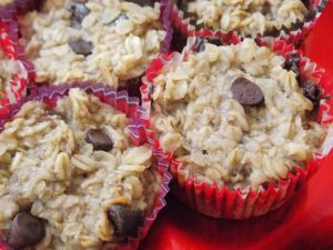 Banana baked oatmeal muffins--no flour, sugar, or eggs. Less than 100 calories a pop!