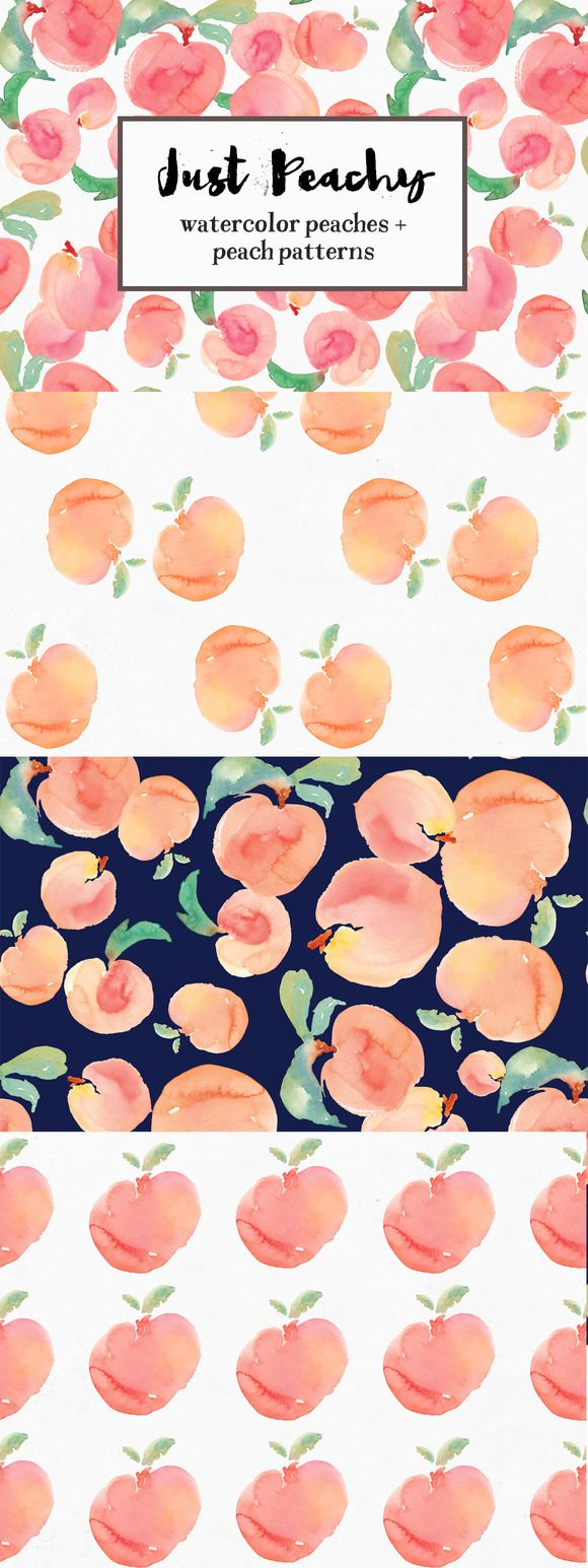 Watercolor Peach Patterns + Peaches by Angie Makes on Creative Market
