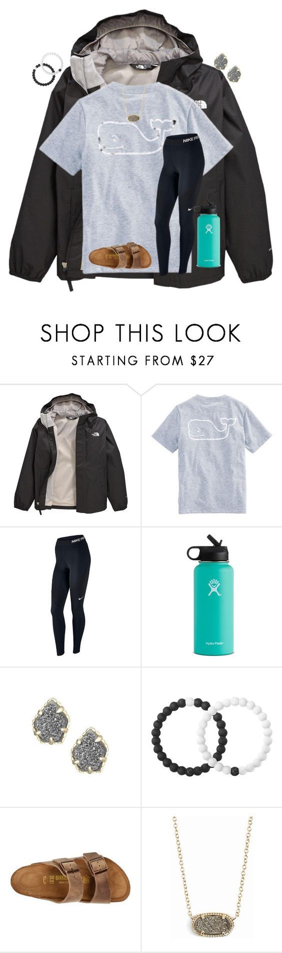 """good friday came in clutch ✌"" by preppy-renee ❤ liked on Polyvore featuring The North Face, Vineyard Vines, NIKE, Hydro Flask, Kendra Scott, Lokai and Birkenstock"