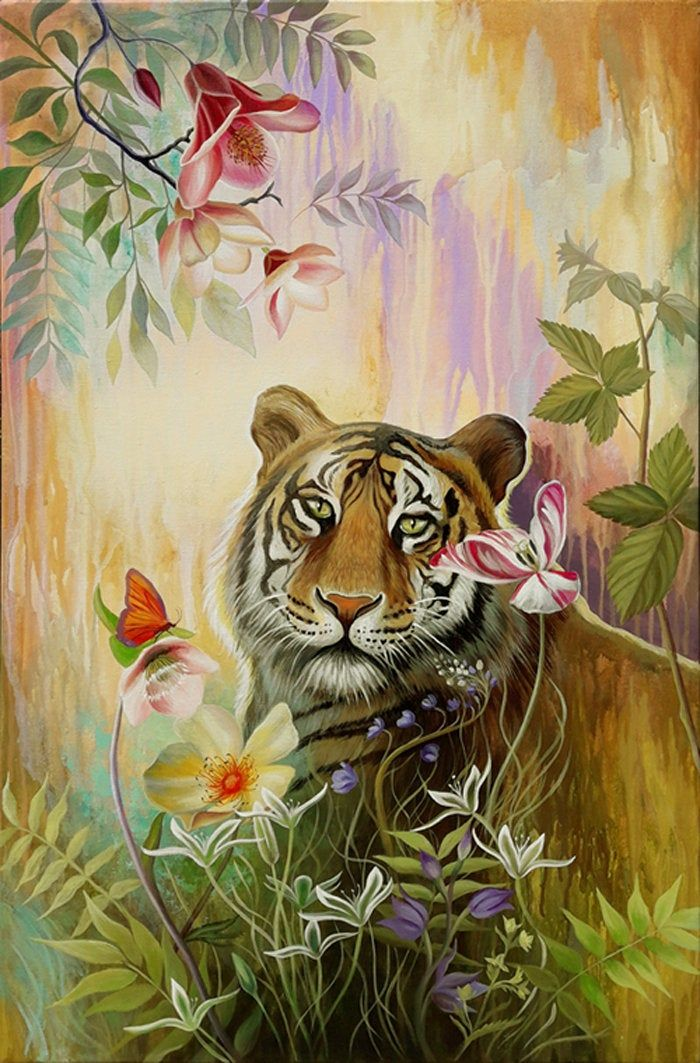 Tiger Original Painting Big Cat Animal Canvas Wall Art Nature Wall Hangings Forest Painting Large Art Nature Paintings Original Animal Painting Forest Painting