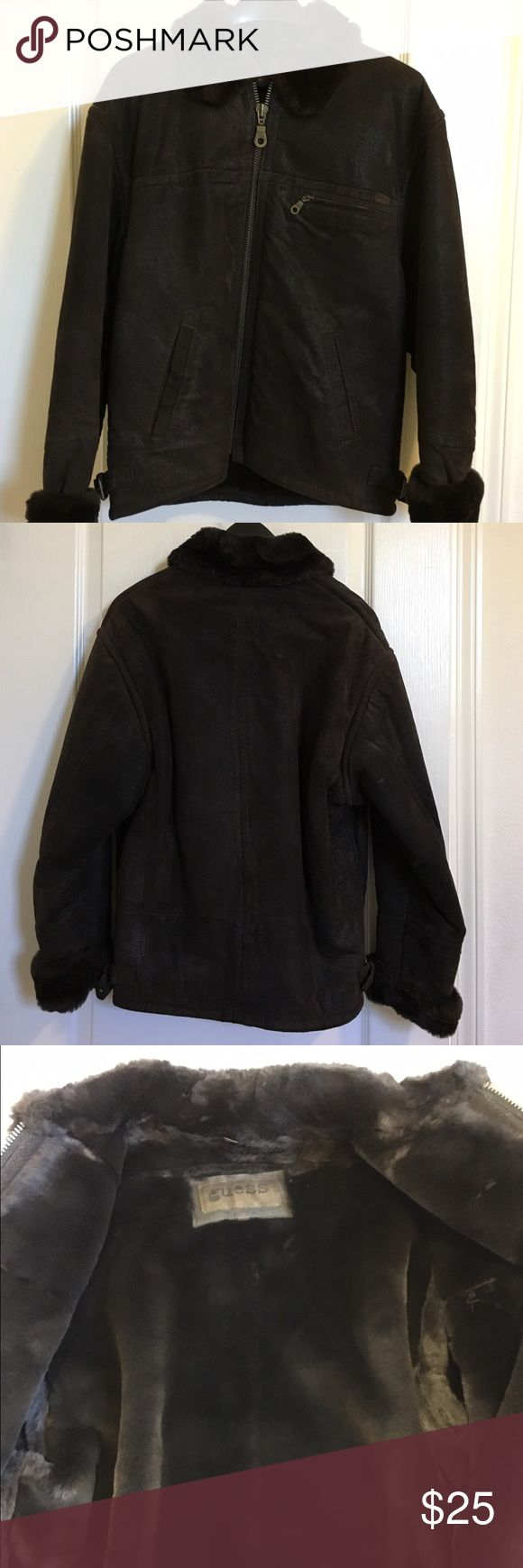 Guess leather jacket with faux fur lining Guess genuine leather jacket with faux fur lining. Worn less than handful of times, too warm for California weather. Excellent preloved condition! Guess Jackets & Coats