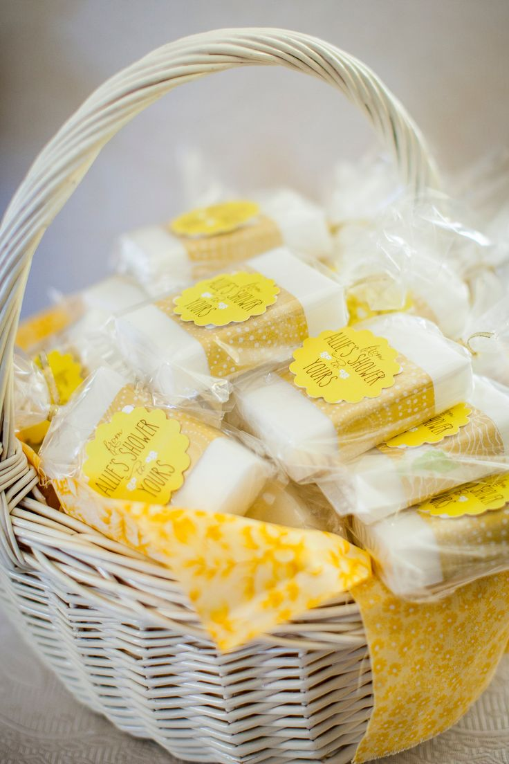 """Shower Favors - """"From Allie's Shower to Yours"""" - little bars of soap...get it? :)"""