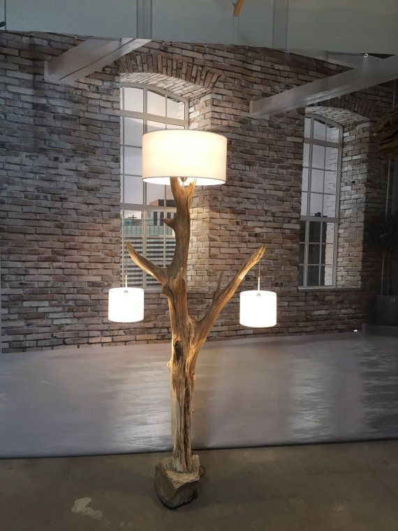 Floor Lamp weathered old Oak branch with boulder. The lampshades are optional !!!! White Linen 50x25 cm and 20x17 cm 2 pieces around also available with real wood veneer lampshade 50x30 cm, 18x23 cm and around. Maple color. Other colors available on request.  The floor lamp is 220 cm high. (Including shade.) = 7.33 feet. Oak branch Natural weathers and Natural wind dried, the color varies from light brown to gray weathered wood tones. The contraction scour in the wood caused by natural…