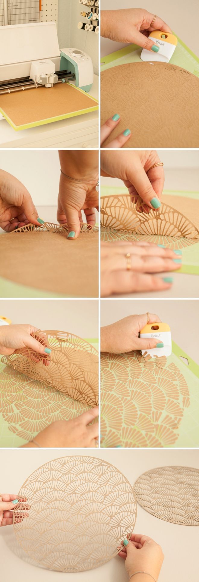 Use your Cricut Explore to make this darling scallop charger and napkin ring…