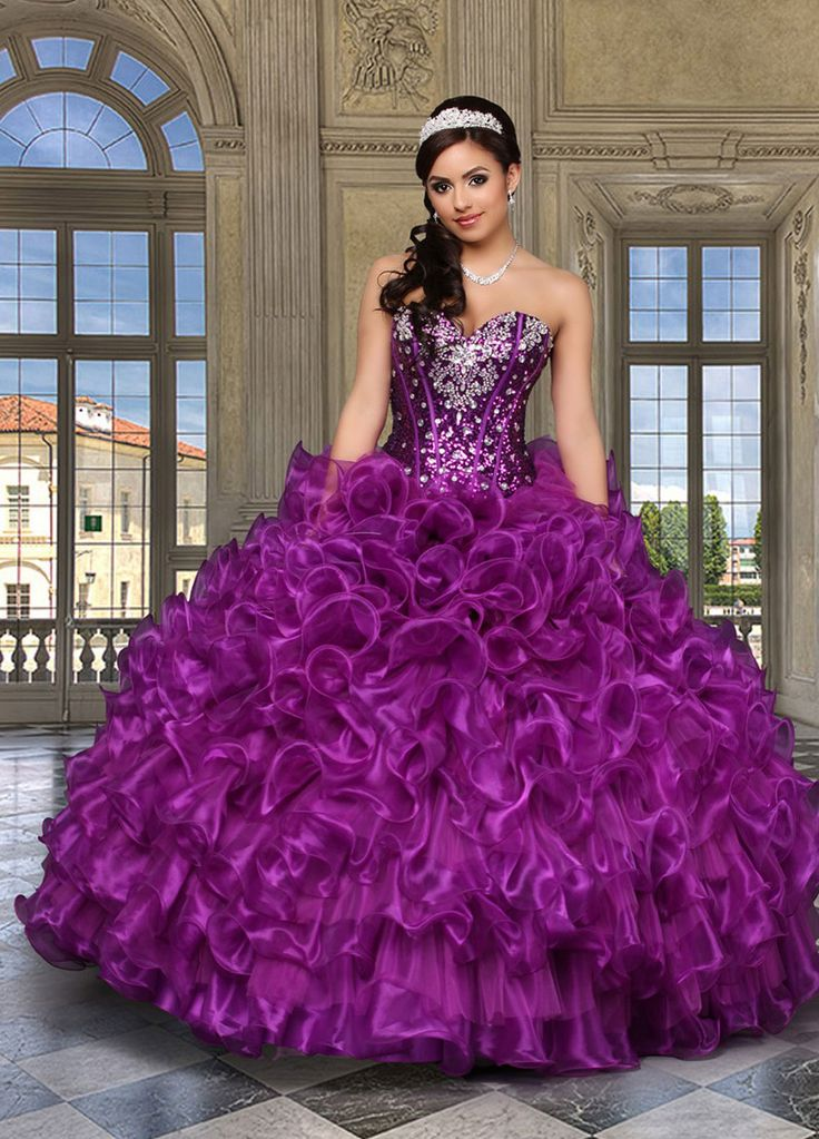 MZ0446 The Most Beautiful 2014 Ball Gown Crystals Rhinestones Purple Western Quinceanera Dresses $195.89