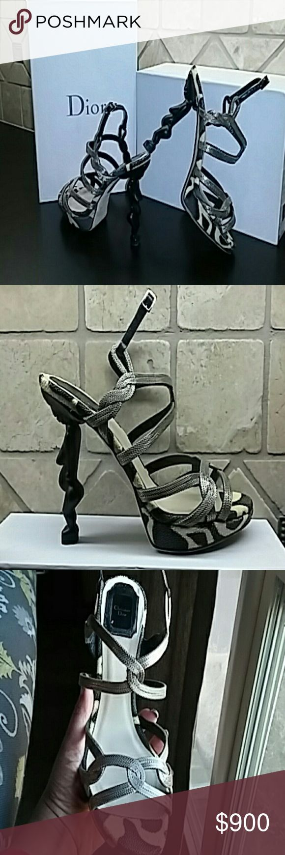 Christian Dior Couture Heels/Sandals Fertility goddess sandal in black and cream animal print stingray. These were designed by John Galliano for House of Dior. This runway item will definitely stop the show. Christian Dior Shoes Heels