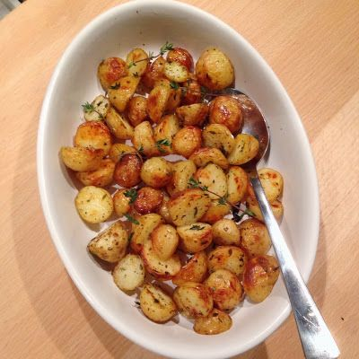 Healthy Living in Heels: Rosemary Thyme Potatoes (out of the oven)
