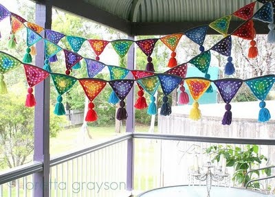 gorgeous granny triangle bunting - love the tassels!