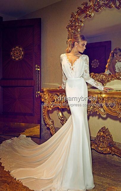 2014 nueva arraival Sexy Berta boda Vestidos De encaje De manga larga Vestidos De Noiva sirena Vestidos De novia De bodas y eventos