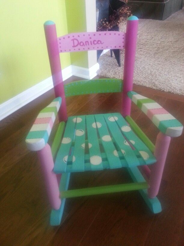 Handpainted toddler rocking chair- Love it for such a little girl!!!