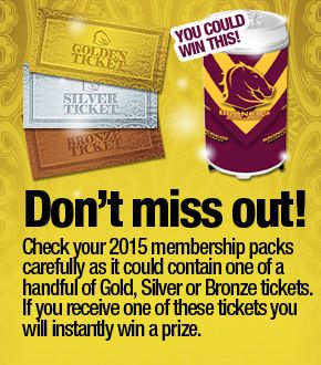 Brisbane Broncos NRL with a members golden ticket offer.