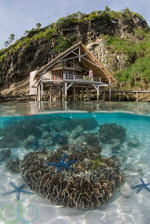 Water Cottages, Misool Eco Resort - Raja Ampat, Papua - Indonesia. Beautiful places to visit in Indonesia.