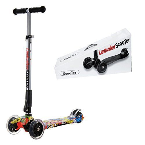 Landwalker Flora Children Scooters Foldable Kick Scooter Adjustable Scooters Nonslip Glider 3Wheel Scooter with PU LED Light up wheelsfree bell and windmillcartoon 2 ** More info could be found at the image url.