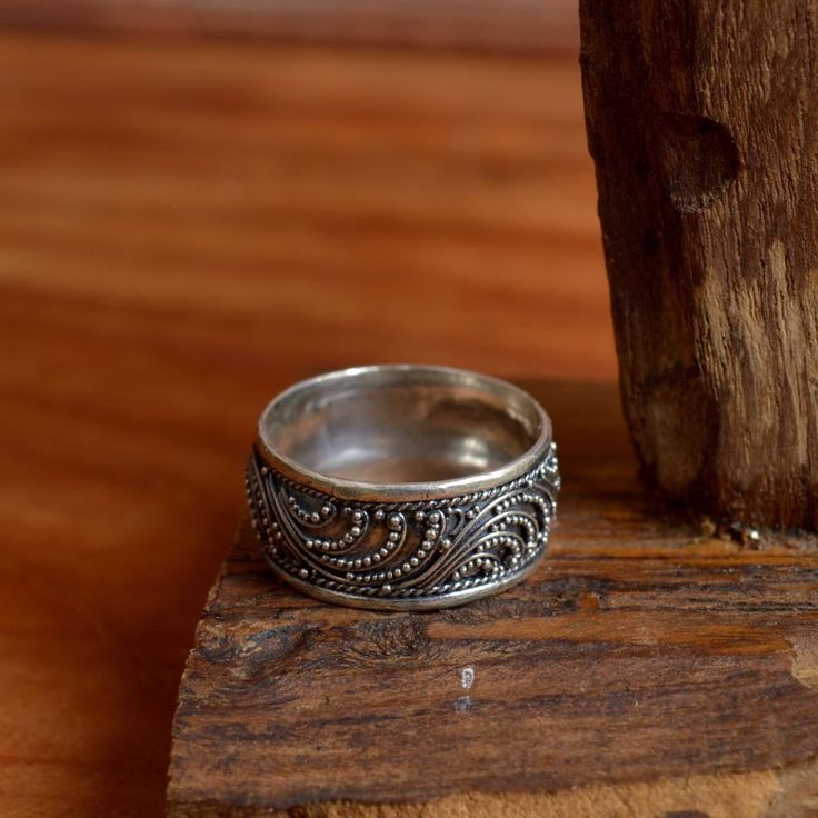 925 Sterling Silver Bali Handmade Traditional Balinese Flower Ring Size 10.5 R46