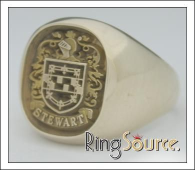 cushion family crest ring