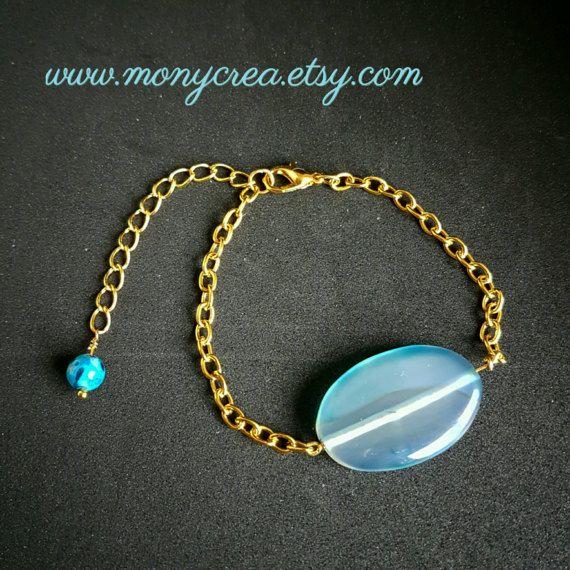 Guarda questo articolo nel mio negozio Etsy https://www.etsy.com/it/listing/510626395/blue-agate-stone-bracelet-marina-pietra
