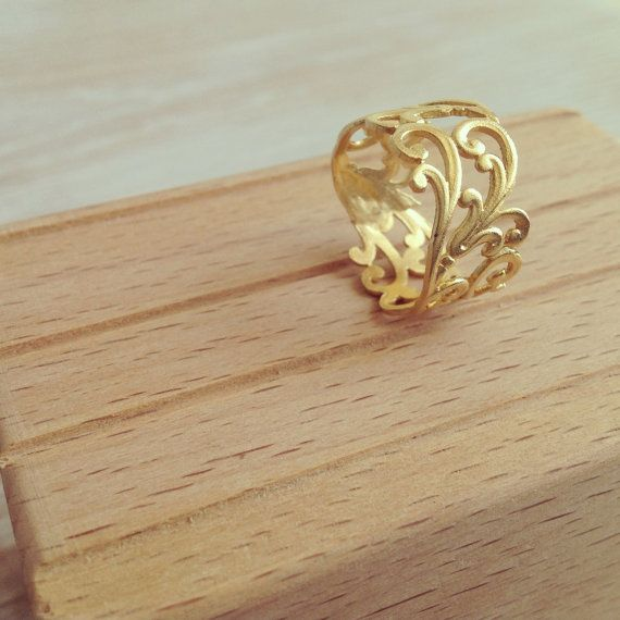 20 Off Filigree Ring Gold Ring Lace Ring by LuluMayJewelry