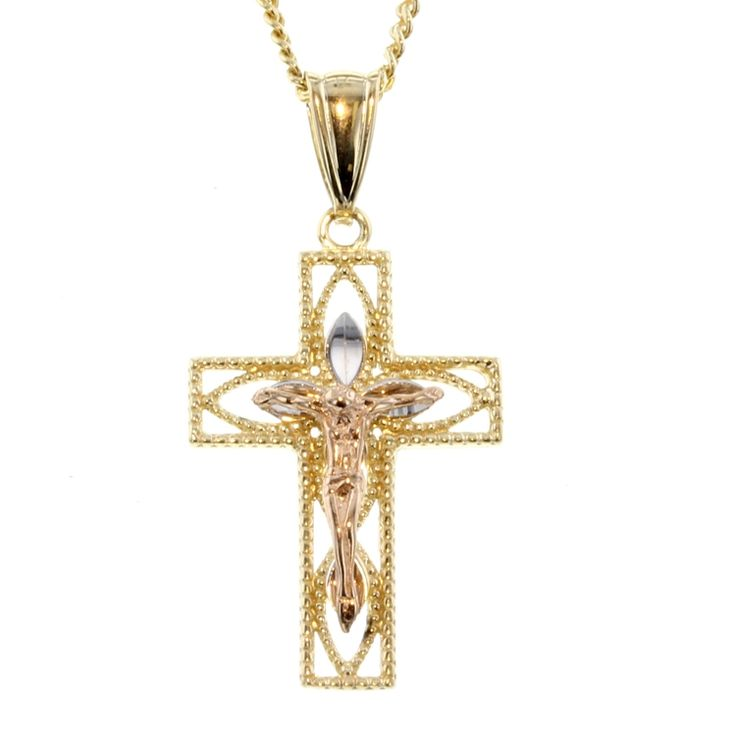 Buy 9ct Tri Tone Gold Cross Pendant (RCP-14) online at Chain Me Up