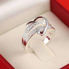 Novos anéis para mulheres prata Bling pedra coração anéis anillos anéis tamanho 6 7 8 9 frete grátis(China (Mainland))
