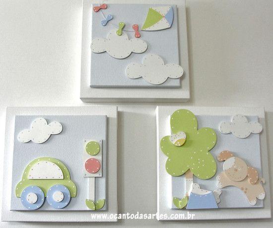 Quadros Pipa - O Canto das Artes - Decoração para Bebês