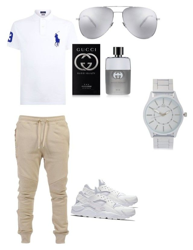 """""""Dope"""" by evry1luvschrissy ❤ liked on Polyvore featuring Polo Ralph Lauren, Balmain, NIKE, Yves Saint Laurent, Gucci, River Island, men's fashion and menswear"""