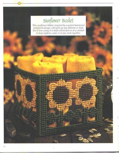 Sunflower Basket 1/2 -- plastic canvas