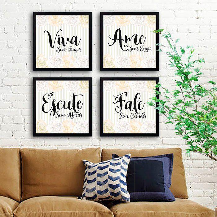 Kit Viva Ame Escute Fale - Encadreé Posters