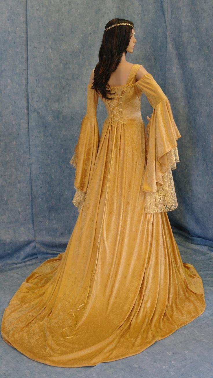 Renaissance medieval handfasting fantasy wedding dress custom made. $315.00, via Etsy.