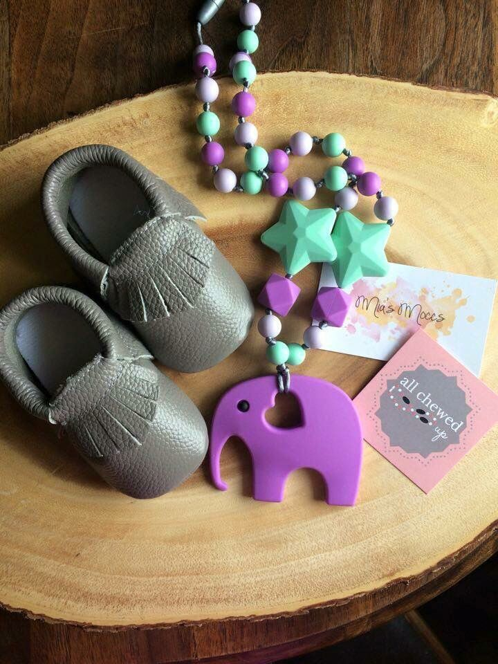 Light grey moccs and chew beads! www.miasmoccs.com