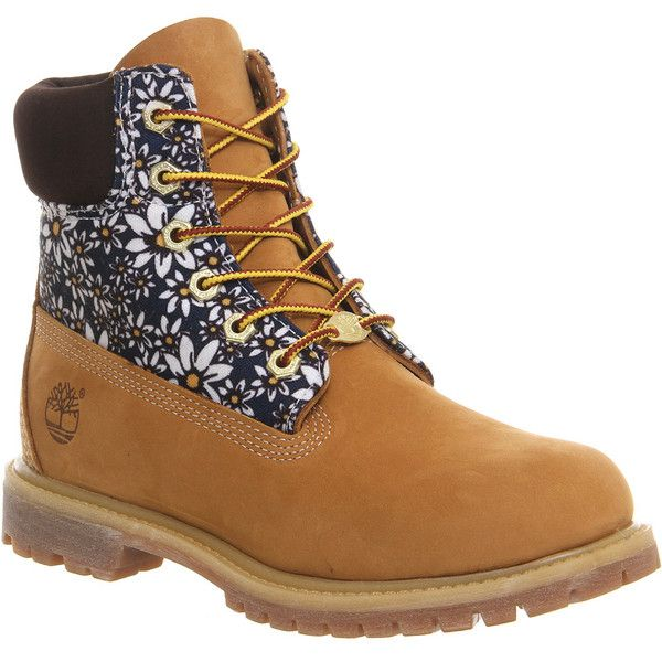 Timberland Premium 6 Boots ($130) ❤ liked on Polyvore featuring shoes, boots, ankle booties, ankle boots, wheat daisy print nubuck, women, lace-up ankle booties, lace up ankle bootie, waterproof boots and lace up bootie