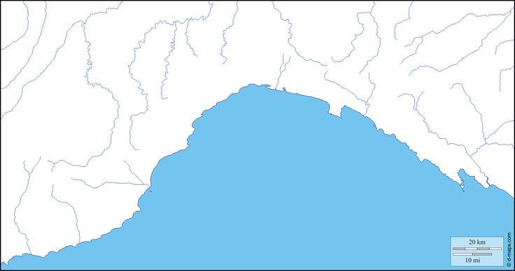 Ligurie : carte géographique gratuite, carte géographique muette gratuite, carte vierge gratuite, fond de carte gratuit : littoraux, hydrographie