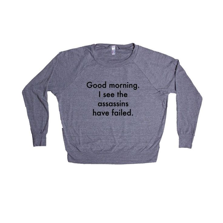 Good Morning I See The Assassins Have Failed Sarcastic Sarcasm Rude Joke Joking Mean Annoyed Annoyance SGAL6 Women's Raglan Longsleeve Shirt