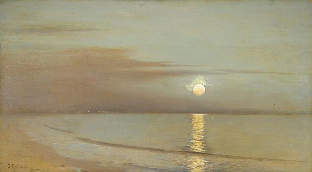 "Granville Redmond (1871-1935) ~ ""Moonrise beyond the bay"", 1903."