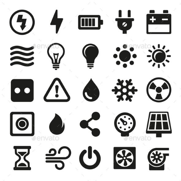 Electric Icons Set On White Background. Vector — JPG Image #collection #plug • Available here → https://graphicriver.net/item/electric-icons-set-on-white-background-vector/13407056?ref=pxcr