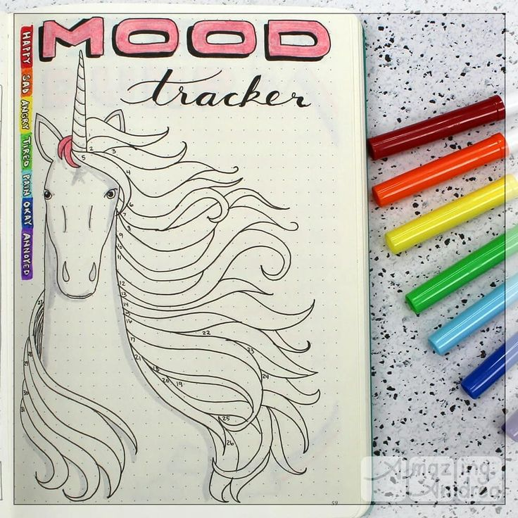 Bullet journal monthly mood tracker,  unicorn drawing. | @amazing_andrea_1
