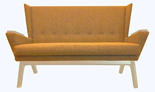 Mustard Seed Yellow Upholstered Mid Century Modern 60 Inch Love Seat