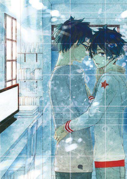 Аниме картинка 1075x1519 с  синий экзорцист a-1 pictures okumura rin okumura yukio narooooom высокое изображение короткие волосы голубые глаза синие волосы закрытые глаза профиль острые уши объятие сёнэн-ай мужчина очки звезда (звёзды) стул