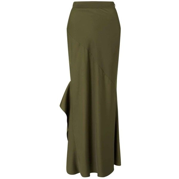 Miss Selfridge PREMIUM Olive Green Maxi Skirt ($90) ❤ liked on Polyvore featuring skirts, olive, maxi skirts, miss selfridge, olive skirt, olive green maxi skirt and brown skirt
