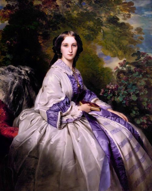 books0977:  Countess Alexander Nikolaevitch Lamsdorff (née Maria Ivanovna Beck, 1835–1866), 1859.Franz Xaver Winterhalter (German, Academic, 1805–1873). Oil on canvas.Metropolitan Museum of Art. The book of English poetry in her lap is thought to be a reference to her father, Ivan Alexandrovitch Beck, a poet and translator. Her choice of a fashionable day dress may have been suggested by Winterhalter.