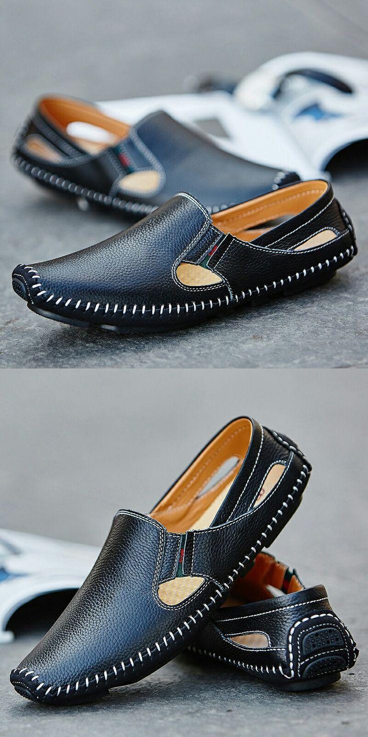 2017 Nueva Llegada del Tamaño Grande de Verano de Los Hombres Zapatos de Conducción de Cuero Genuino buena Calidad de Los Hombres de Los Holgazanes Cómodos Más El Tamaño 45 46 47