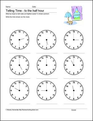 telling time to the half hour worksheets teaching math time pin. Black Bedroom Furniture Sets. Home Design Ideas