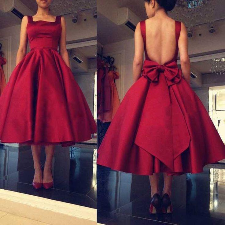 2016 New Arrival Hot Sale Custom Made Tea Length Backless Evening Dresses with Bow Sexy Vestido De Festa Celebrity Dresses
