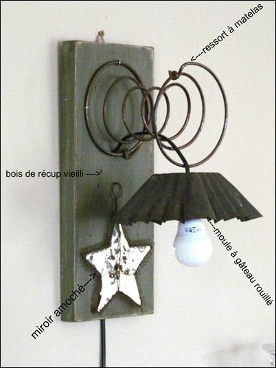 ressort illuminé DIY upcycle with a cake pan, spring, salvaged board and morrored star.