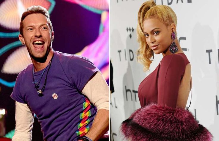 "Beyonce made a featured appearance in Coldplay's single ""Hymn for the Weekend"" from their album ""A Head Full of Dreams"". The song depicted her as an Indian actress. Pictured here also is Coldplay's lead singer, Chris Martin."