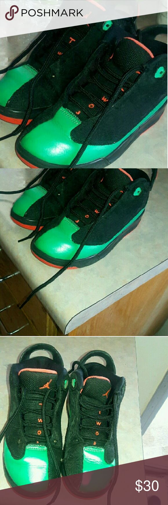 Kids Dub zero jordans unisex black and teal size13 These cool dub zeros jordans are still good condition they are preown had very stuff and wrinkle and front still nice show great price!!! Jordan  Shoes Sneakers