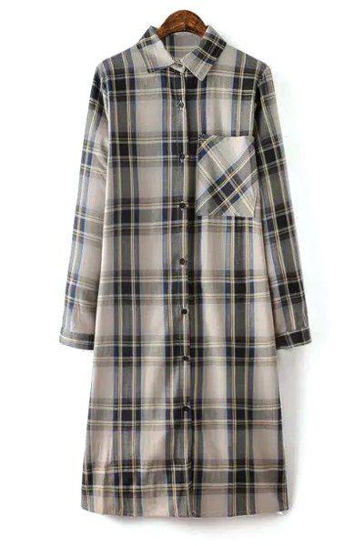 Checked Shirt Collar Long Sleeve Pocket Shirt Dress GRAY: Long Sleeve Dresses | ZAFUL