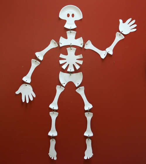 Paper plate skeleton craft. Goes great with The Skeleton Dance!