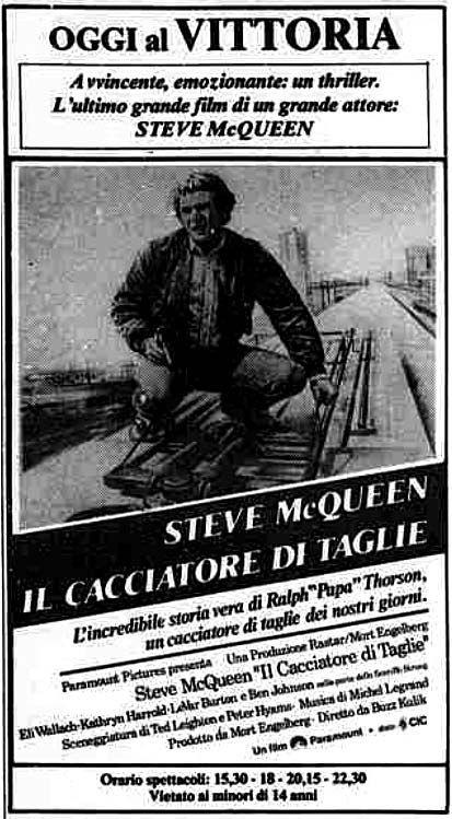 """""""Il cacciatore di taglie"""" (The Hunter, 1980) di Buzz Kulik, con Steve McQueen ed Eli Wallach. Italian release: December 23, 1980 #MoviePosters"""