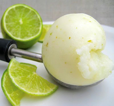 Homemade lime sorbet.
