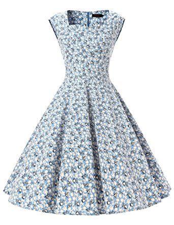 Vestido retro años 50 flores azules, primavera verano